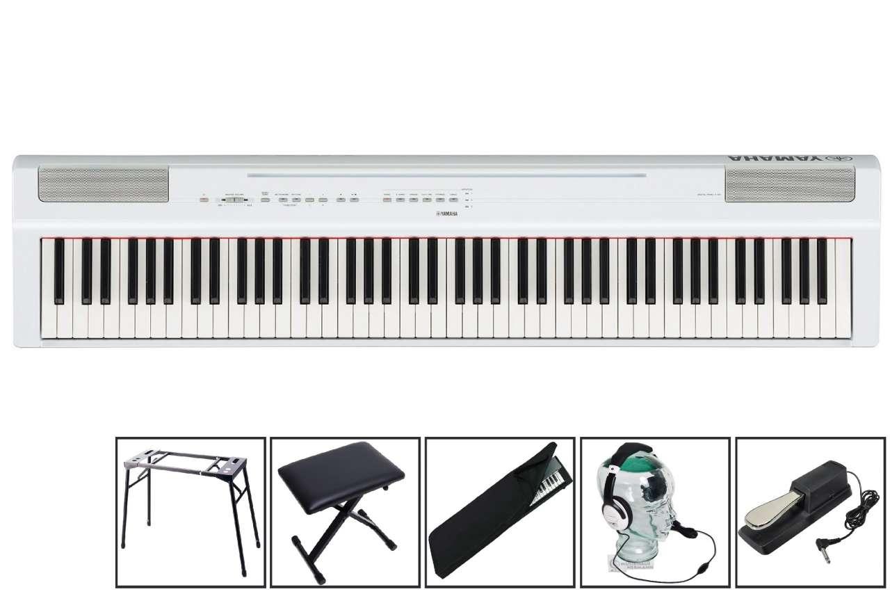 Yamaha P-125 W White - transportables Piano - Mega Set P-125W Mega Set